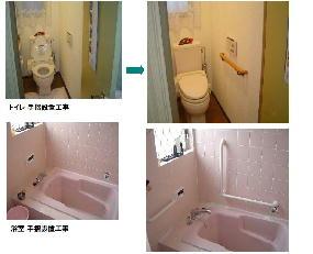 手摺りの取付 施工例 トイレ、風呂場